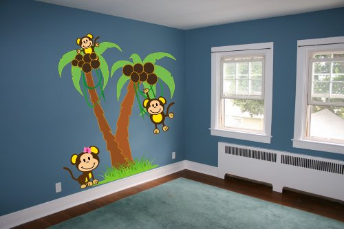 6Ft Palm Trees With Monkeys Wall Decal Art Sticker Kids Mural front-56543