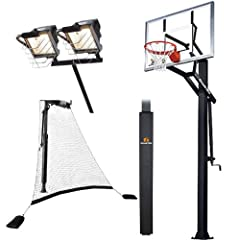 Goalrilla GS54 with Pole Pad, Ball Return Net & Deluxe Hoop Light, Adjustable 54... by Goalrilla Goals