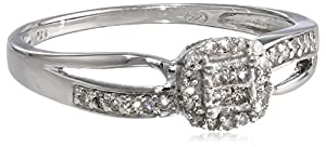 Sterling Silver Princess-Cut Center and Round Sides Diamond Ring (0.20 cttw, H-I Color, I2-I3 Clarity), Size 6