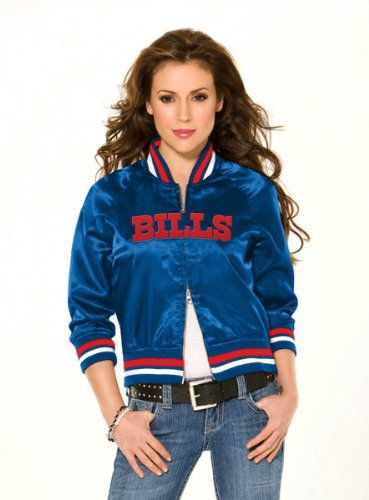 Buffalo Bills Women's Classic Satin Baseball Collar Jacket - by Alyssa Milano at Amazon.com