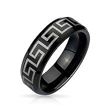 buy Bling Jewelry Black Greek Key Design Tungsten Ring 8Mm