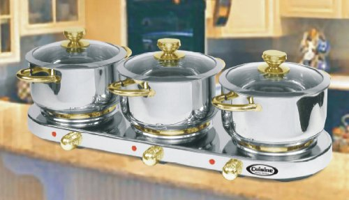 Cheap Cuisine Cookware Triple Burner 7Pc Buffet Set – Stainless Steel w/ 24K Gold Plated Accents|7PCTBG (B002N6L8Y6)