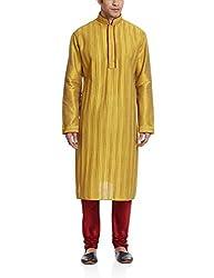 Sanwara Mens Polyester Kurta Pyjama (SKP0258_GD_40_Gold)
