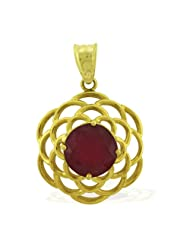 Carillon India Solitaire Ruby 10 K Yellow Gold Plated 925 Sterling Silver Pendant