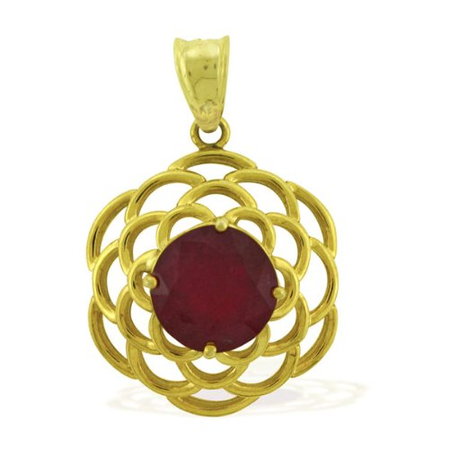 Carillon India Solitaire Ruby 10 K Yellow Gold Plated 925 Sterling Silver Pendant (multicolor)