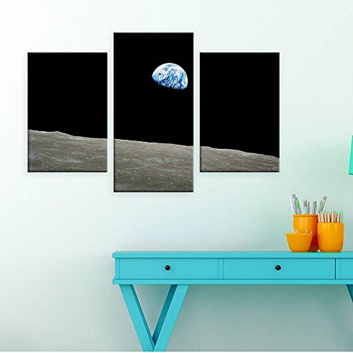 Alonline Art - Planet Earth From Moon Split 3 Panels POSTER PRINTS ROLLED (Print on Fine Art PHOTO PAPER) +GIFT 48
