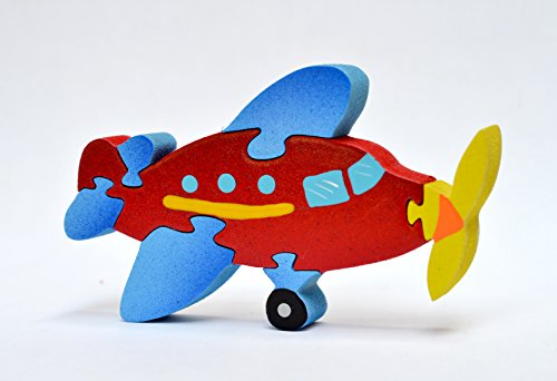 Wood Puzzles - Hand Made By Our Craftsman with None Toxic Paint - Airplane - 1
