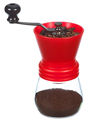 Big Save! GROSCHE Bremen Adjustable Ceramic Conical Burr Manual Coffee Grinder (Red)