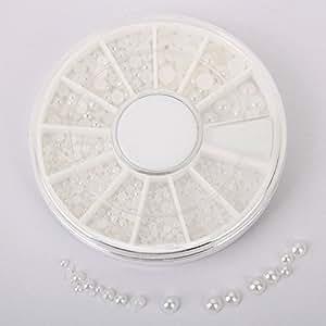 DragonPad White Pearl Nail Art Stone Different Size Wheel Rhinestones Beads