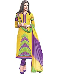 Exotic India Mimosa-Yellow Choodidaar Kameez Suit With Embroidered Flow - Yellow