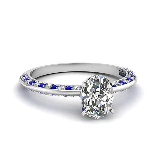Fascinating Diamonds 1.50 Ct Oval Shaped Diamond & Blue Sapphire Knife Edge Pave Set Engagement Ring Gia