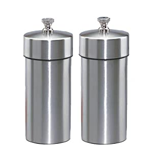 Chef Specialties Futura Solid Stainless Steel Pepper Mill and Salt Mill Set, 4-Inch by Chef Specialties