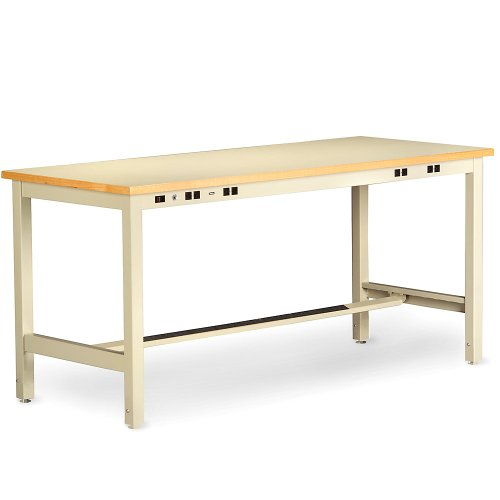 "Tennsco Pre-Wired Static Control Technical Workstation - 60X36"" Top - Fixed-Height Legs - 33-1/4"" Bench Height - Sand - Sand"