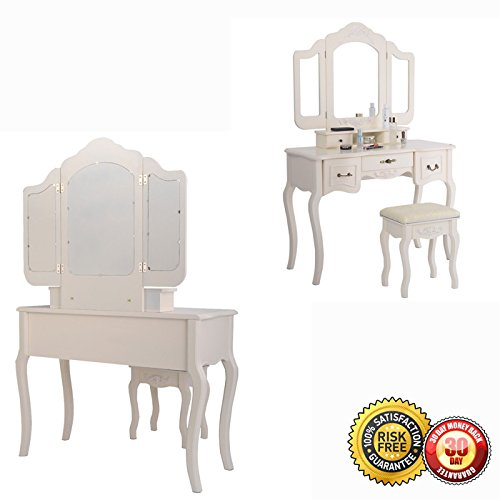 New Tri Folding Vintage White Vanity Makeup Dressing Table Set 5 Drawers &stool 3