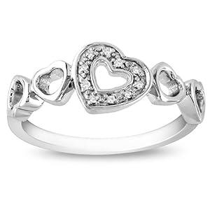Sterling Silver 0.03 CT TDW Round Diamond Fashion Ring (H-I, I3)
