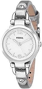 Fossil Georgia Three-Hand Leather Watch - Metallic Silver Es3424