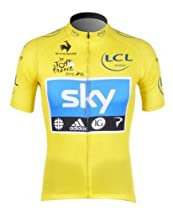 2012 Tour De France SKY Pro Team Clothing/quick-drying Wicking Short-sleeved Cycling Jersey Upper Outer Garment(yellow) (L)