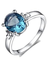 Kaizer Power Blue 18K White Gold Plated Stud Ring For Women