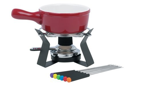 Trudeau Cheese / Chocolate Multi-Purpose Fondue, Red, 10 Piece Set