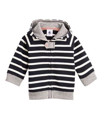Petit Bateau - Sweat-shirt à capuche - bébé garçon - multicolore (abysse/coquille) - 3 mois