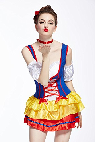 Ninimour- Women's Snow White Costume Dress Set Halloween Carnival