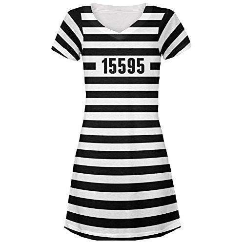 Halloween Prisoner Old Time Striped Costume All Over Juniors V-Neck Dress - Medium (Girl Prisoner Costume)
