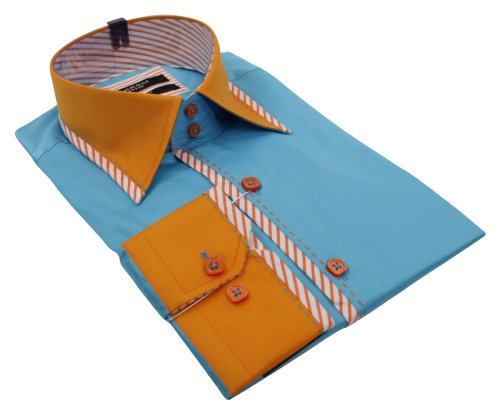 Mens Italian Stitch Design Blue & Orange Shirt Slim Fit Smart or Casual 100% Cotton