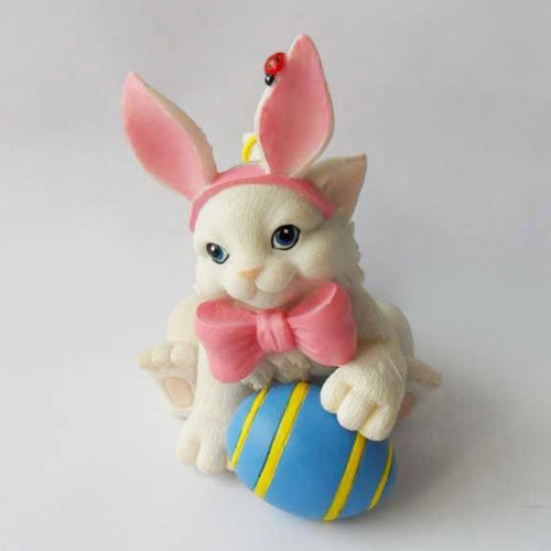 """Charming Purrsonalities """"I'M All Ears"""" Easter Bunny Figurine front-1014168"""