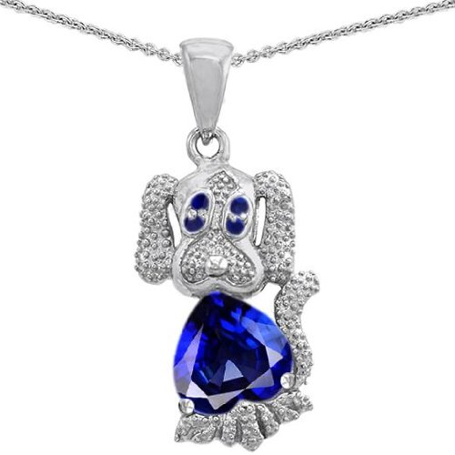 CANDYGEM 925 Sterling Silver 1inch Dog Lover Puppy of Love Heart Pendant with 2cts of Lab Created Sapphire. Free 18inch Gold Plated Silver Chain. Free High End Gift Box.