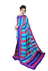 Aradhya Women's Velvet bordered Georgette Striped Saree (Multi_ara003)
