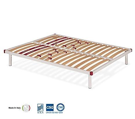 Rete letto matrimoniale a doghe in legno Olimpia 160x190_Rete ortopedica Made in Italy