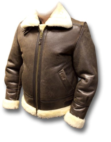 Schott Men's Sheepskin B-3 Leather Flying Jacket LC1259, brown, small