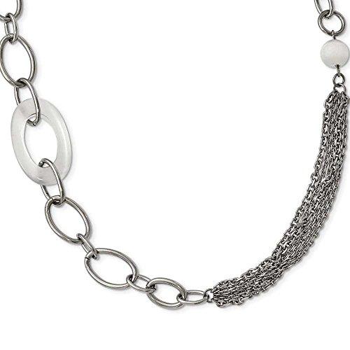 """In acciaio INOX lucido, con occhio di gatto, colore: bianco, con Slip-on, 96,52 (38"""")-JewelryWeb cm"""