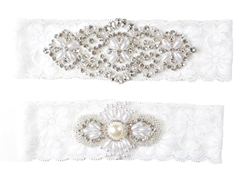 Wishprom Rhinestones Pearl Lace Wedding Bridal Garter Belt Set (Ivory)