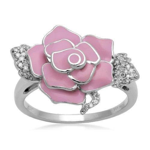 Sterling Silver Pink Enamel Flower Diamond Ring (1/10 cttw, I-J Color, I2-I3 Clarity), Size 6