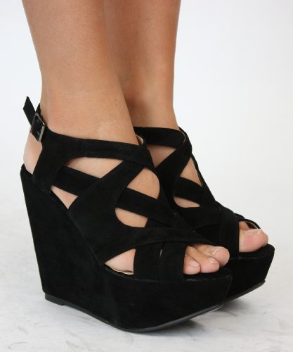Womens Black Suede Wedges Ladies Strappy Platform Shoes with shoeFashionista Boutique Bag
