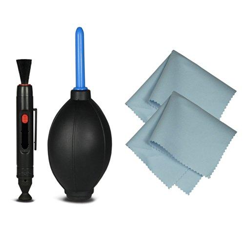 4in1 Reinigungsset für Spiegelreflexkameras [Canon, Nikon, Pentax, Sony, Samsung, Panasonic], Objektive, DSLR Kameras, Smartphones, Camcorder, etc. - inklusive: Reinigungsstift [LensPen] + Blasebalg + 2x Mikrofasertuch