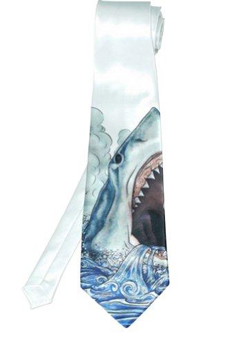 Gentlemen'S Stylish British Fashion Shark Print Formal Dress Necktie White front-89170