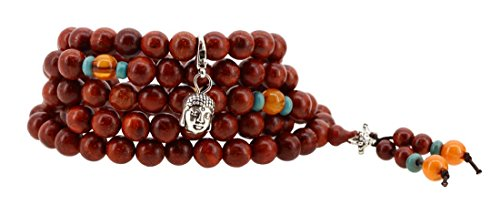 Handmade Tibetan Elastic String 8mm Red Wood 108 Prayer Beads Wrap Bracelet Mala with Charms (Buddha Head)