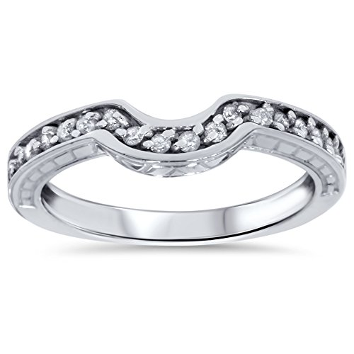 25ct-Curved-Band-Real-Diamond-Antique-Engraved-Enhancer-14K-White-Gold-Ring