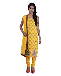 Mumtaz Sons Women's Cotton Unstitched Dress Material (MS111409D,Yellow)