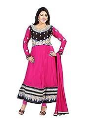 Fabdeal Womens Georgette Semi Stitched Salwar Kameez (GJB2DR1116RS_Pink)