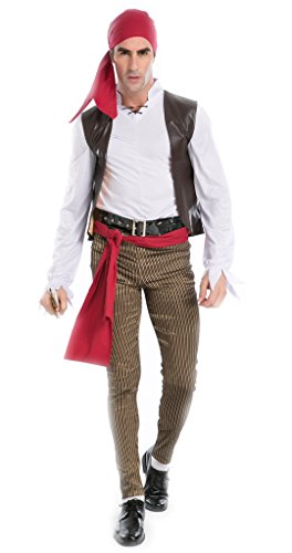 NonEcho Halloween Costumes for Men Pirate Jack Costume Party Idea