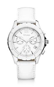 Golana Aura Chrono Women's Quartz Watch with White Dial Chronograph Display and White Leather Strap AU400-1