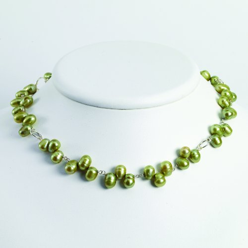 Sterling Silver Green Freshwater Cultured Pearl Necklace