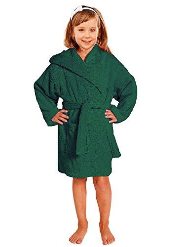 Towel Terry Bathrobe 100% Cotton Green Kids Hooded Robe Girls & Boys Size S / M