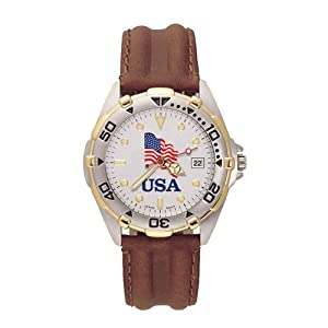 Ladies USA Flag All-Star Leather Band Watch by Jewelry Adviser Watches