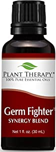Plant Therapy Germ Fighter Synergy Essential Oil Blend. 100% Pure, Undiluted, Therapeutic Grade. Blend of: Lemon, Clove Bud, Cinnamon Cassia, Eucalyptus, and Rosemary. 30 ml (1 oz).