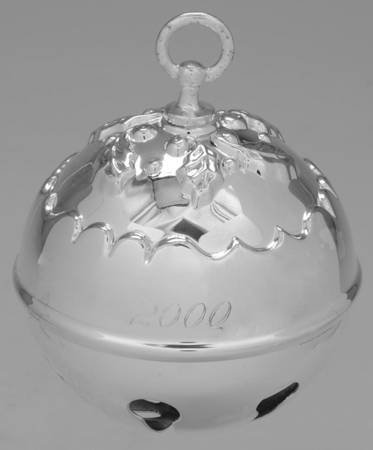 Reed and Barton Annual Silver Plated Holly Bell Ornament 2000