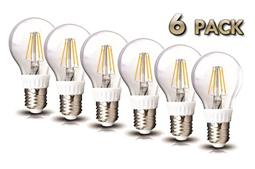 Amledtek A-Bf401-6 Led Filament A19 4W To Replace 40W Incandescent Bulb Softwhite (2700K) 6 Pack